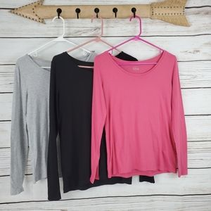 Loft | Bundle/Lot of 3 Long Sleeve Scoop Neck Tops